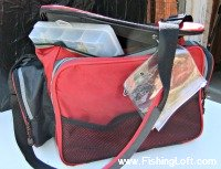 Red Fishing Tackle Bag with Storage Boxes