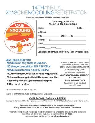14th Annual, 2013 Okie Noodling Tournament Registration Form