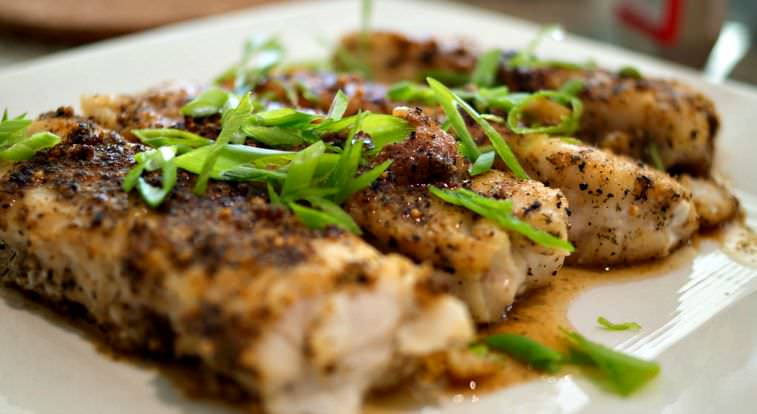 Baked Cod Fish with Green Onions