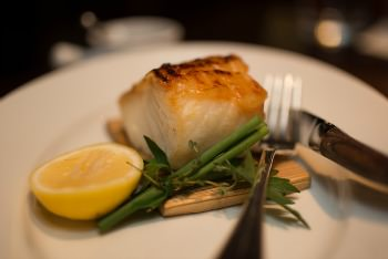 planked black cod fish