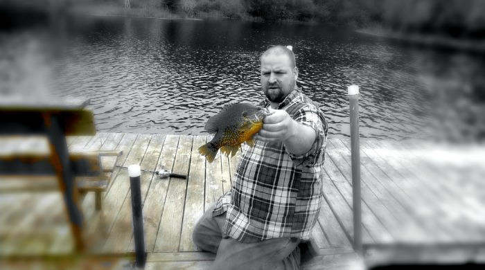Wisconsin private pond bluegill dock fishing