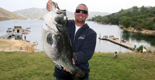 Jed Dickerson with dead Dottie the famous world record largemouth bass