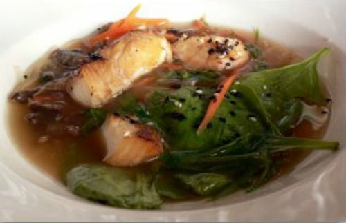 court bouillon broth for cooking fish, spicy red miso broth with pea shoots, carrots, asparagus and rice noodles.