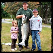 Huge Salmon Caught by Father, Son and Daughter combo