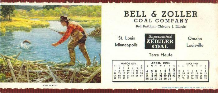 1954 Bell & Zoller Coal Company Fishing Calendar
