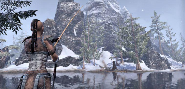 Custom female character fishing in a video game.