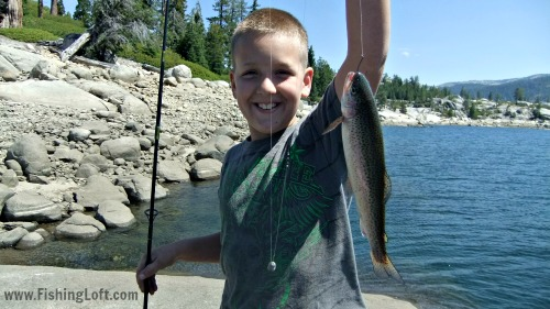 Catching rainbow trout at Bear River Lake.