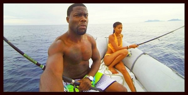 Kevin Hart and his wife Eniko Parrish fishing in Fiji.