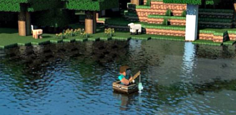 Catching fish out of a boat on the Minecraft video game.