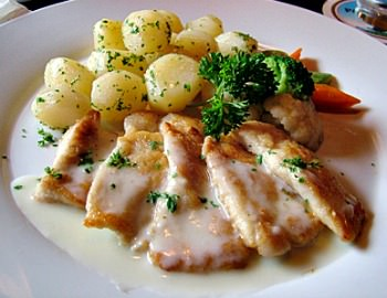pan fried perch with butter sauce