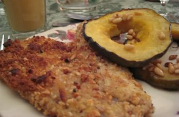Pecan nut crusted musky fish fillets