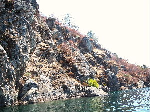 Rock wall in a river for largemouth bass and smallmouth bass fishing.