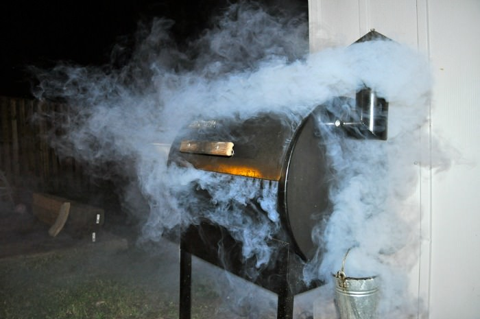 Traeger grill smoking fish.