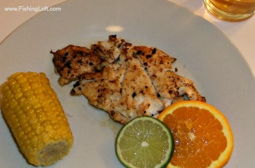pan roasted striped bass fillets orange lime slices