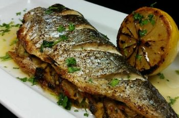 whole stuffed baked trout