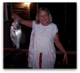 Peggy Hopper with her disallowed world record Hybrid Crappie