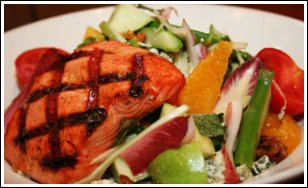 Grilled Salmon Fish With Fruits and Vegies
