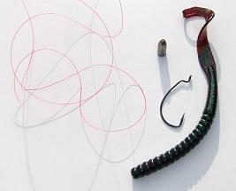 texas rigging set up, red cajun line, half oz. tungsten bullet weight, 3/0 bullet weight, 10 inch berkley powerbait power worm