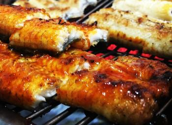 eel grilling on the barbecue