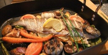 broiled whole trout