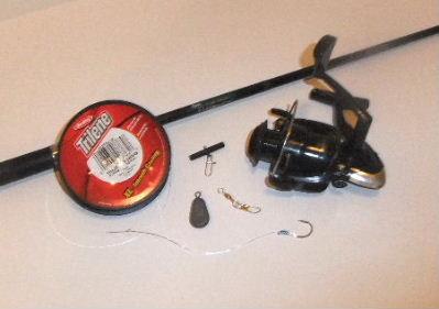 Fishing Line, Shakepeare Graphite Rod, Spinning Reel, Octopus Hook, Sinker, Slider, Snap Swivel