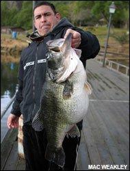foul hooked world record largemouth bass Mac Weakley Dottie unnofficial