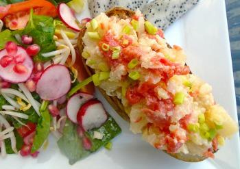 salmon stuffed twice baked potato