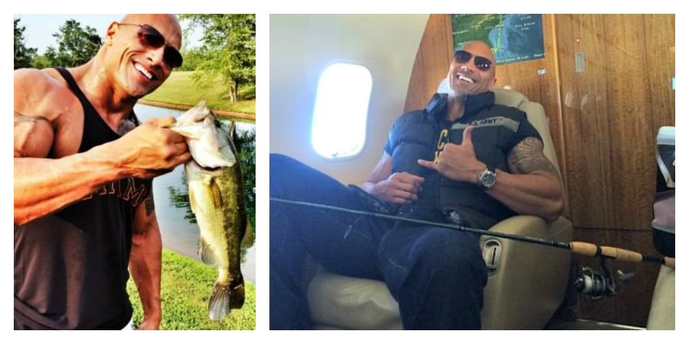 The Rock with a largemouth bass from his lake. Dwayne Johnson on an airplane going fishing.
