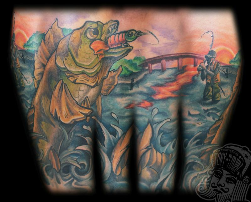 Tattoo of a fisherman in waders catching a walleye in the sunset.