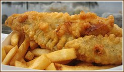 deep frying fish and chips, fried