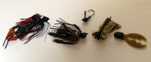 bass fishing best lures, jig 'n' pig with crawfish trailer